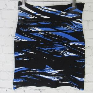 BCBG Skirt Womens Medium M Black & Blue Stretchy
